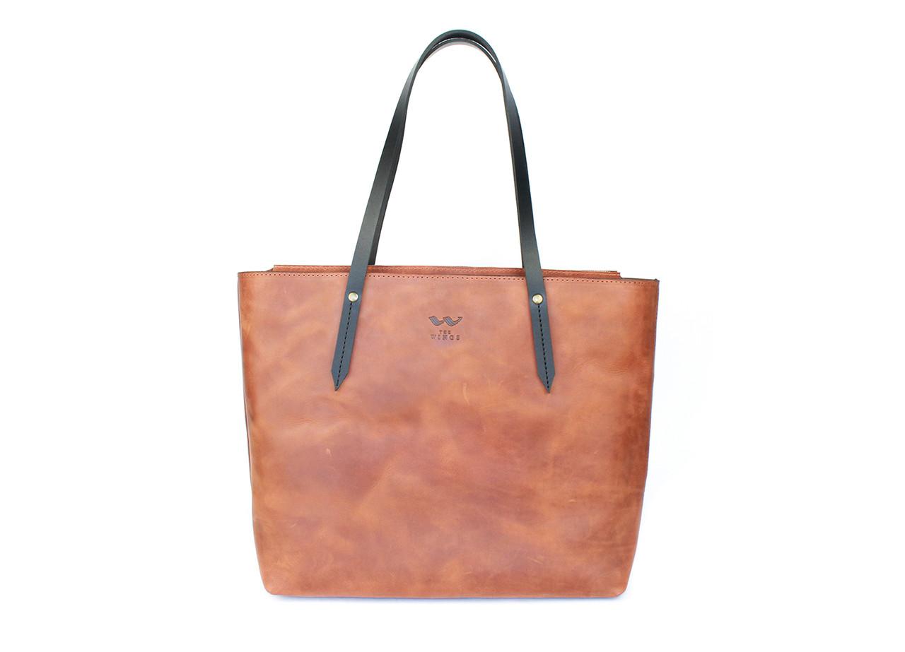 Кожаный шоппер Walker Mini светло-коричневый винтажный