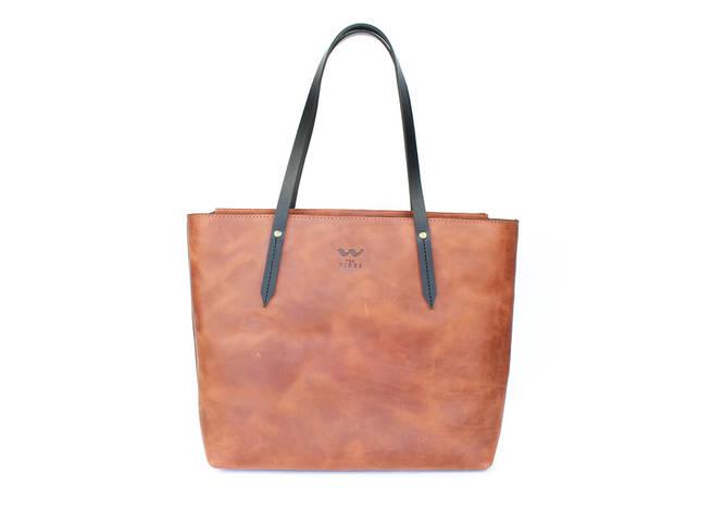 Кожаный шоппер Walker Mini светло-коричневый винтажный, фото 2