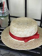 Соломенная шляпа канотье красная лента