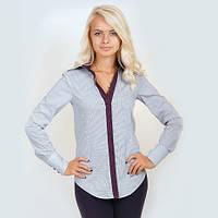 Рубашка женская в мелкую полоску. Длинный рукав,приталенная. С контрастной отделкой. Разм. XS-L. Davanti.