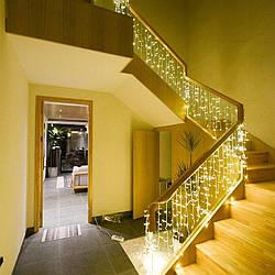 Гирлянда Бахрома для дома, ресторана 8x0,6 метра 120 LED, 20 нитей, 220В, IP55. Гирлянда Золото, AL-1794-65