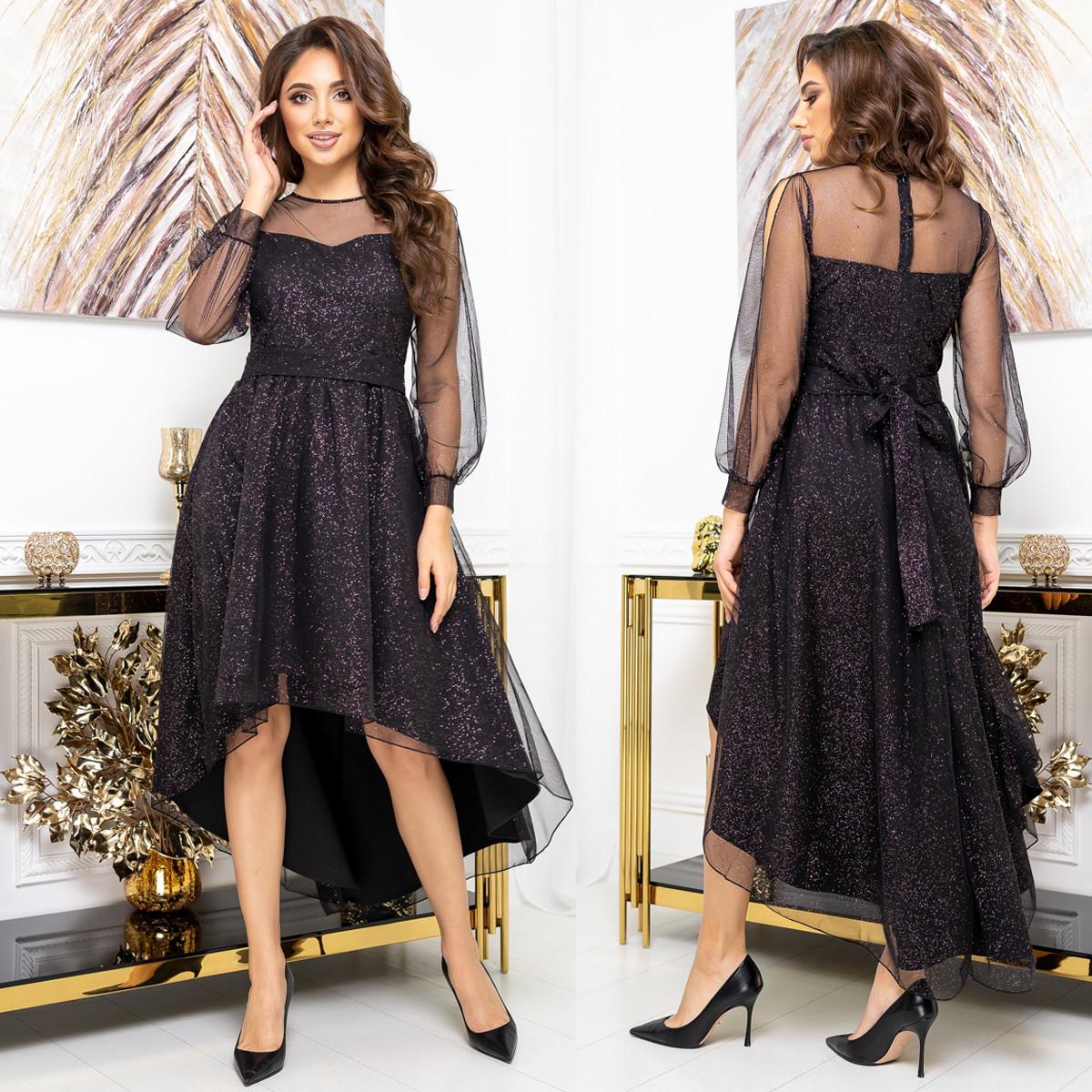 """Платье сетка с блестками асимметричное вечернее, новогоднее """"GLANEC"""""""