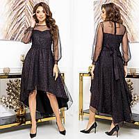 """Платье сетка с блестками асимметричное вечернее, новогоднее """"GLANEC"""", фото 1"""