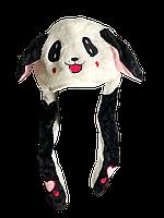 Светящаяся шапка с двигающими ушками Зайчик Черно-белая