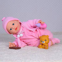 Кукла-пупс мягконабивная,сенсор,36см,реаг.на печенье,наряд,игрушку