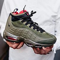 Зимние кроссовки Nike Air Max 95 Sneakerboot green khaki кроссовки на зиму ботинки