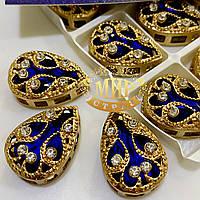 Капли  Sapphire в золотой ажурной оправе  15х20мм, 1шт