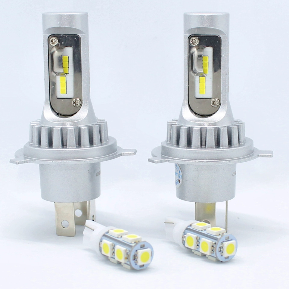 Комплект автомобильных светодиодных LED ламп для фар авто Sho-Me F3 H4 20W 8000Lm 6500K Головной свет Лед
