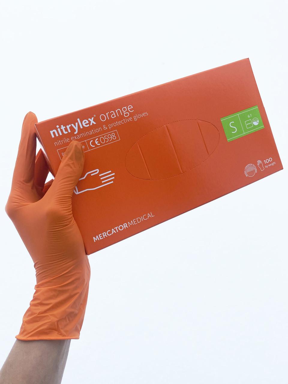 Перчатки нитриловые Nitrylex Orange S нестерильные неопудренные (50 пар/уп) оранжевые