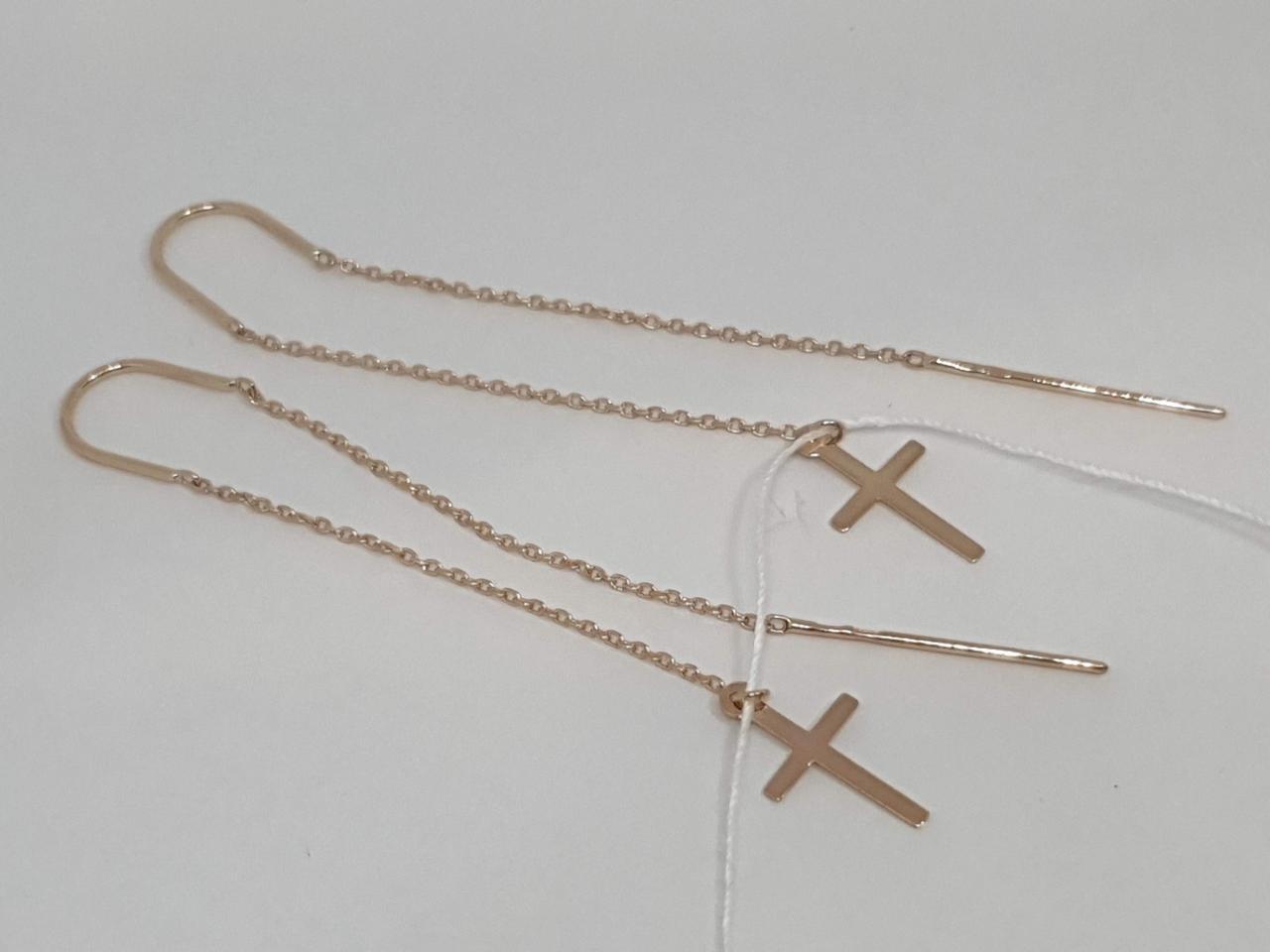 Золотые серьги-протяжки. Артикул 580111