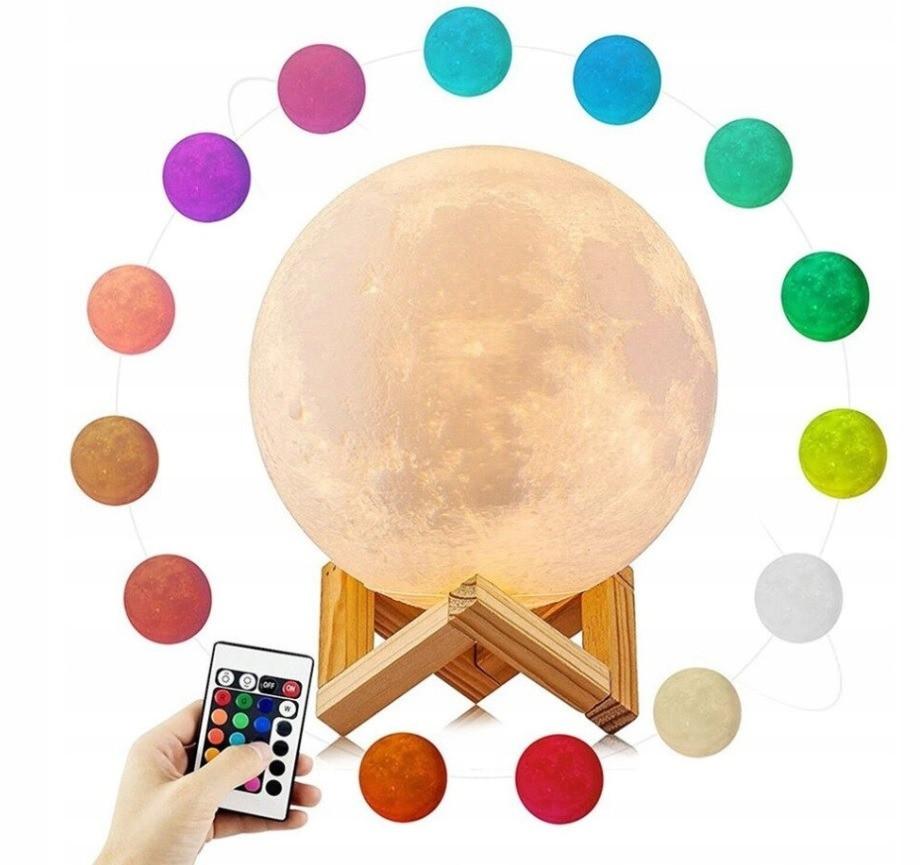 """Настольный 3D светильник-ночник """"Луна"""" Magic 3D Moon Light Touch Control 5 цветов 15 см с подставкой  (51842y)"""