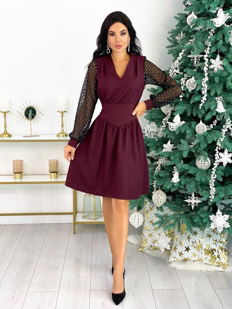 Женское модное платье с 42 по 48 рр костюмная ткань + сетка на рукавах