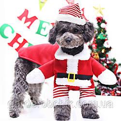 """Костюм новогодний, толстовка """"САНТА ПЕС"""" для собаки, кошки. Одежда для животных"""