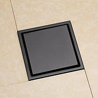 Трап для душу під плитку з механічним зворотним клапаном 10*10 GTH-347 Чорний, фото 1