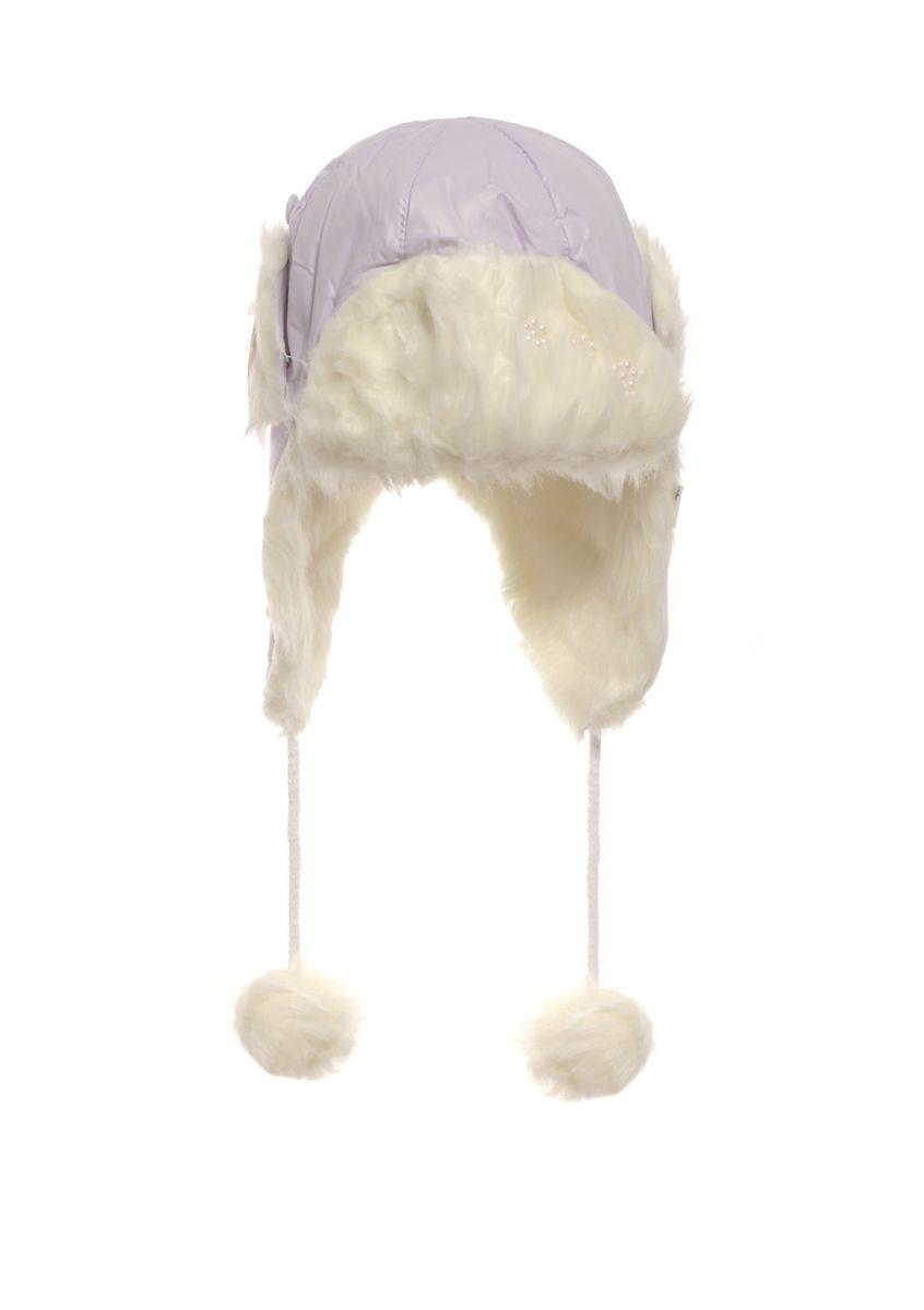 Сиреневая зимняя шапочка, утеплена исскуственным мехом.