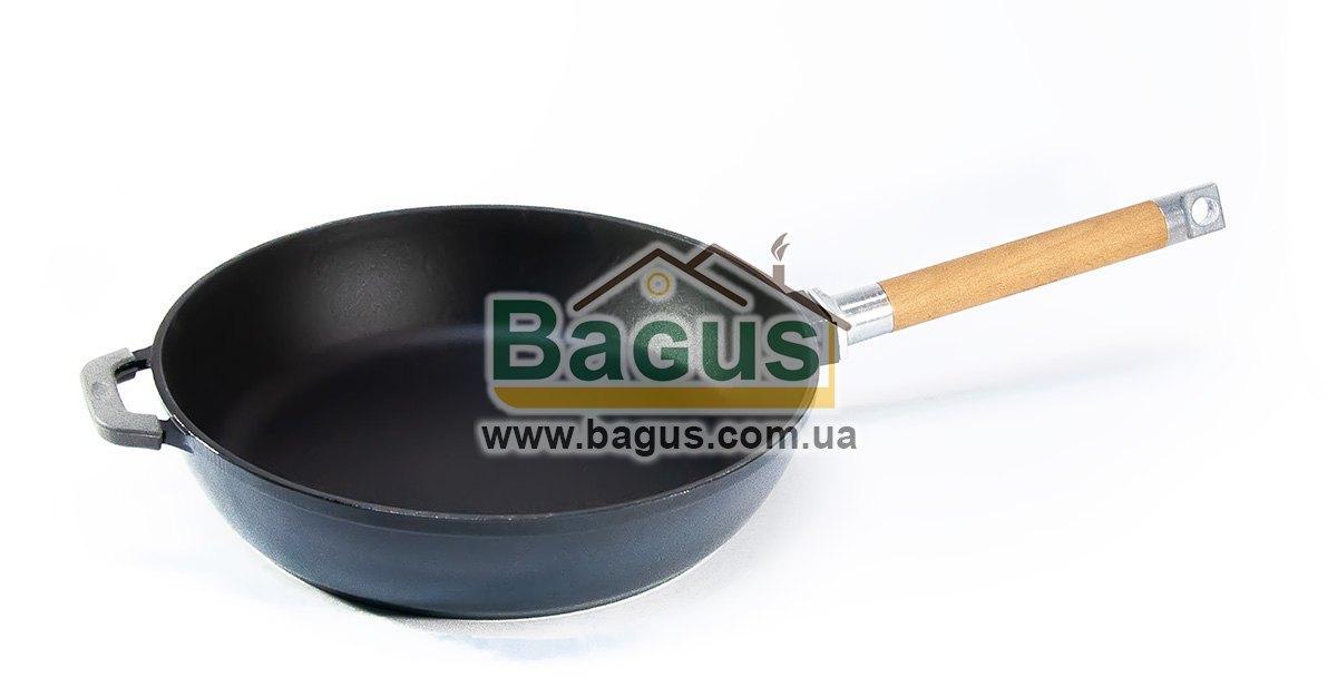 Сковорода емальована (сотейник) чавунна глибока 28х6,5см з дерев'яною знімною ручкою СІРА Біол (03285E)