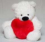 Мишка Бублик 77 см белый с сердцем 40 см, фото 2