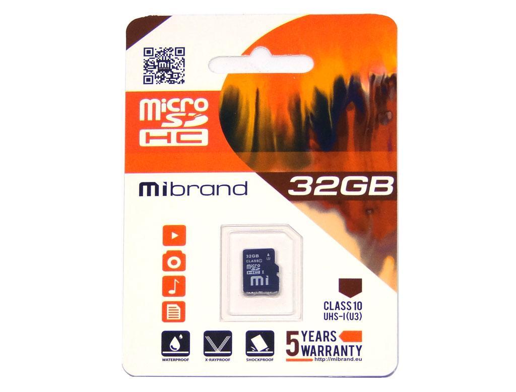 Карта памяти Mibrand 32GB microSD class10 UHS-1 (MICDHU3/32GB)