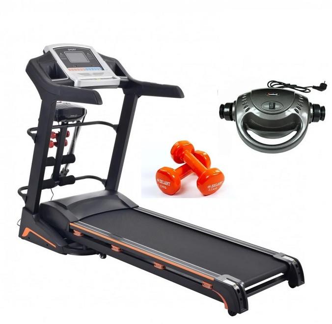 Беговая дорожка электрическая с массажером гантелями Atleto A10 для дома (бігова доріжка вес до 140 кг)