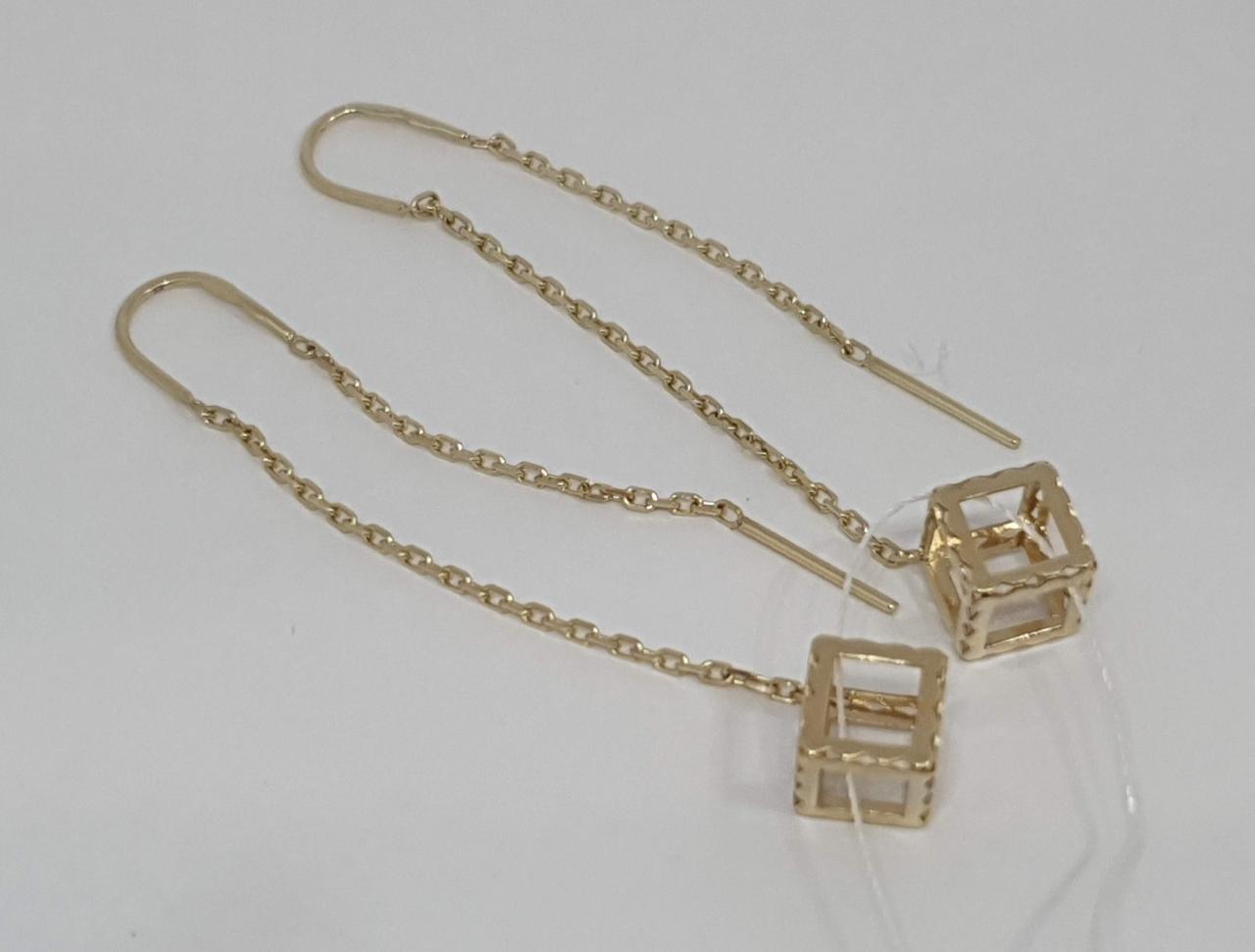 Золотые серьги-протяжки. Артикул СПП801ЛИ