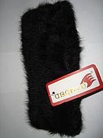 Зимняя ангоровая повязка на голову черного цвета, фото 1
