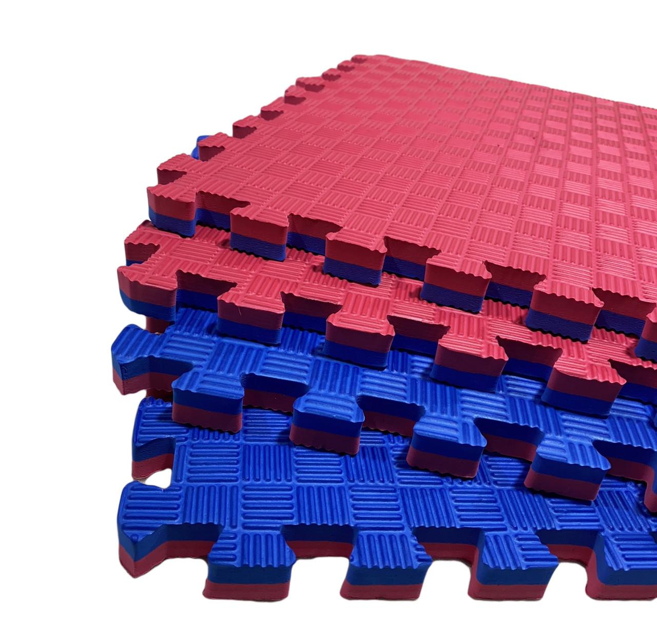 """Коврик - пазл """"EVA"""", набор 8 элементов 500х500х20 мм, площадь 2м.кв. Сине-Красный"""