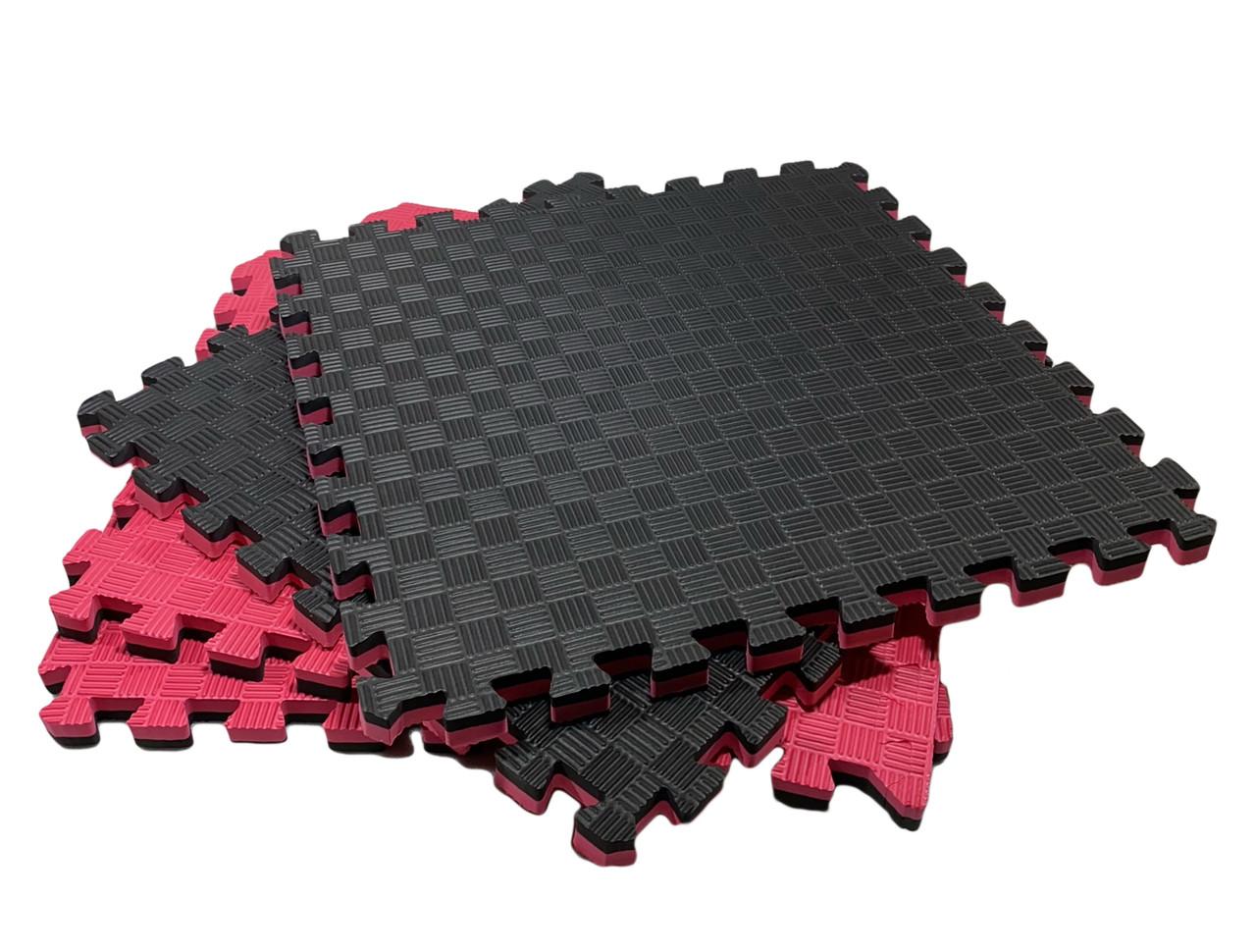 """Коврик - пазл """"EVA"""", набор 8 элементов 500х500х20 мм, площадь 2м.кв. Красно-Черный"""