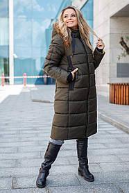Зимняя Куртка ниже колена в молодежном стиле хаки размер от 42 до 56