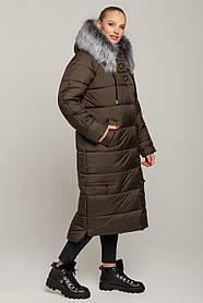Стеганое зимнее длинное пальто пуховик размеры 48 до 58 с капюшоном