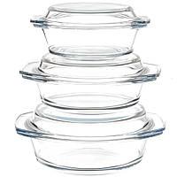 Набор стеклянных жаростойких кастрюль A-PLUS 3 шт Круглых