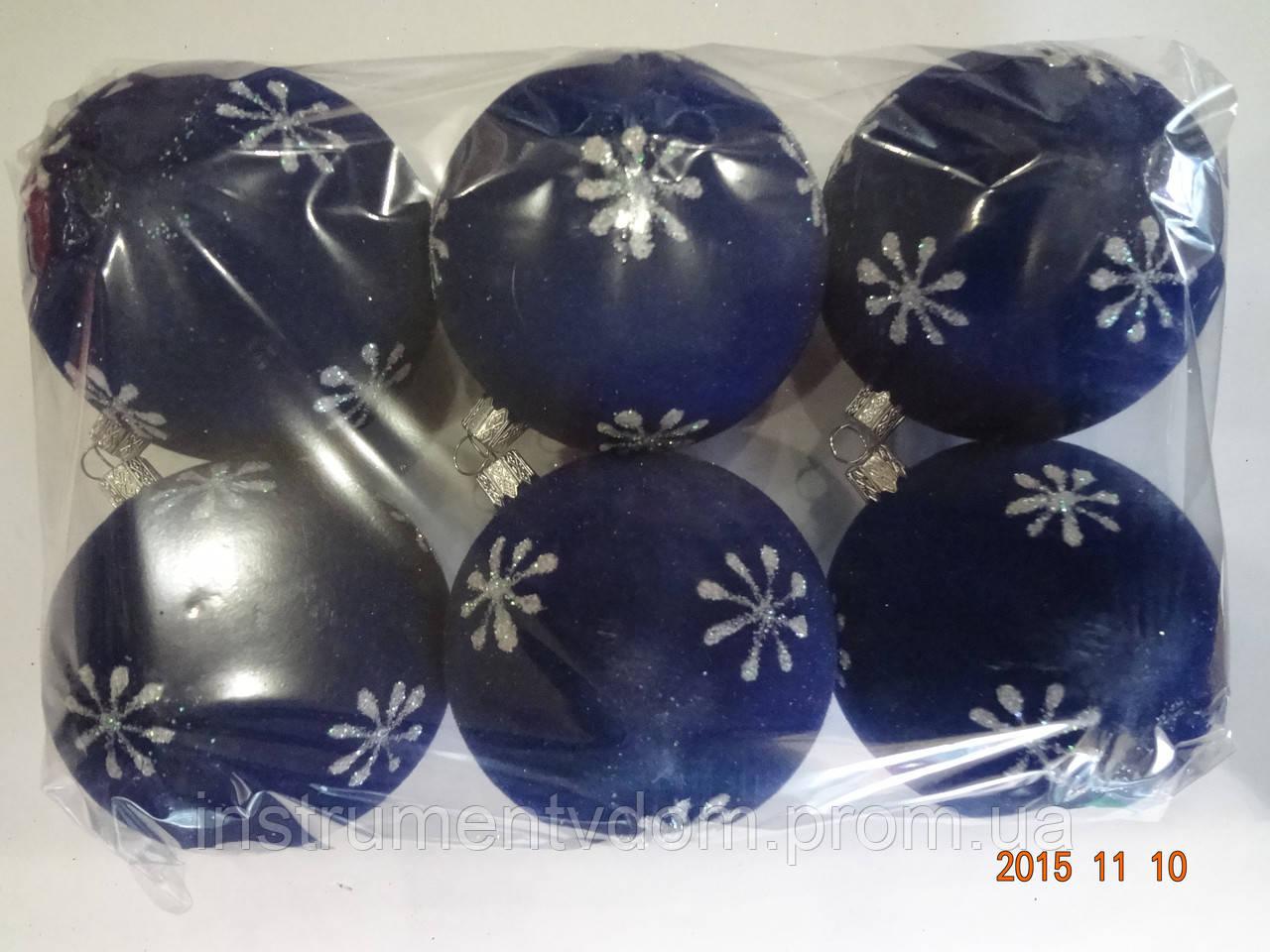 """Игрушка елочная """"Шар бархат Снежок"""" (диаметр 8 см, упаковка 6 шт, цвета в ассортименте)"""