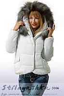 Женская зимняя куртка Прованс с капюшоном белая