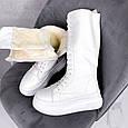 Женские сапоги зимние теплые с мехом на шнуровке и молнии белые эко кожа b-467, фото 7