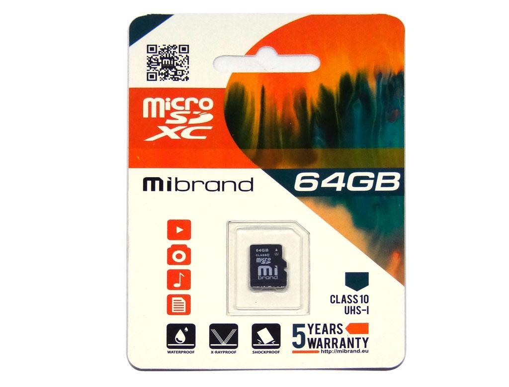 Карта памяти Mibrand 64GB microSD class10 UHS-1 (MICDXU1/64GB)