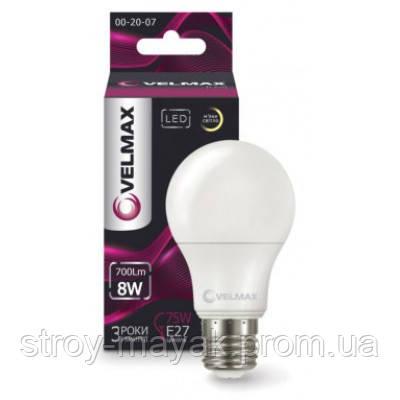 Светодиодная лампа LED VELMAX V-A60, 8W, E27, 4100K, 700LM, угол 240 ° яркий свет