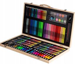 Набір для малювання 220 предметів в дерев'яному кейсі