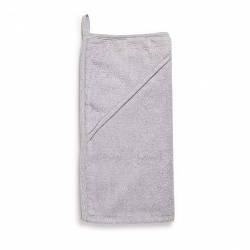 Махровое уголок-полотенце после купания с капюшоном для новорожденного Twins Aqua 100x100, серый
