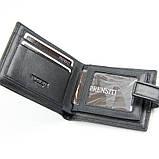 Кошелек мужской кожаный черный Prensiti 8758 маленький на кнопке из натуральной кожи, фото 5