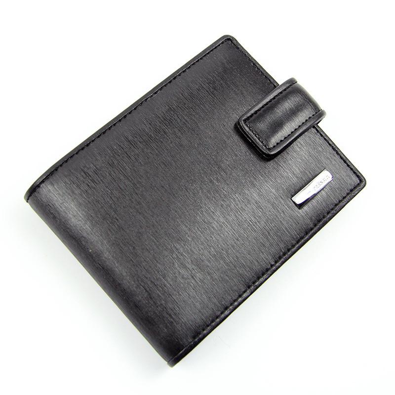 Кошелек мужской кожаный черный Prensiti 8758 маленький на кнопке из натуральной кожи