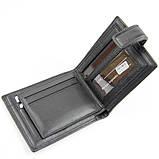 Кошелек мужской кожаный черный Prensiti 8758 маленький на кнопке из натуральной кожи, фото 6