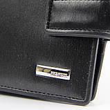 Кошелек мужской кожаный черный Prensiti 8758 маленький на кнопке из натуральной кожи, фото 7