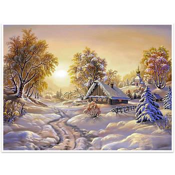 """Алмазная мозаика Lesko DIY K782 """"Зимнее утро"""" 40х30 выкладка стразами на холсте"""