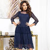 """Платье гипюровое молодежное синее вечернее """"GRACE"""", фото 1"""