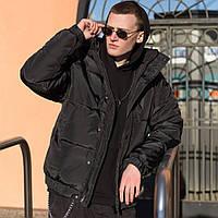 Куртка мужская зимняя оверсайз теплая черная Турция. Живое фото. Чоловіча куртка