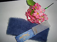 Зимняя ангоровая повязка на голову джинсового цвета, фото 1