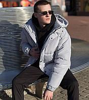 Куртка мужская зимняя теплая оверсайз серая Турция | Пуховик мужской зимний Живое фото. Чоловіча куртка
