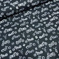 Бавовняна тканина з білими мотоциклами на чорному, ш. 160 см