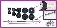 Наборная штанга для дома на 115 кг,Штанги грифы диски металлические, Гантели и штанги стальные для фитнеса