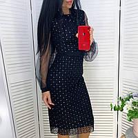 Женское чёрное вечернее платье с сеткой, фото 1