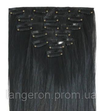 Трессы прямые комплект черные волосы на клипсах 55см 130г  7прядей 16клипс - Интернет-магазин «Langeron» в Киеве